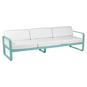 Canapé de jardin 3 places BELLEVIE Fermob bleu lagune-blanc grisé