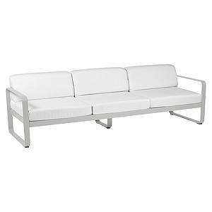 Canapé de jardin 3 places BELLEVIE Fermob gris métal-blanc grisé