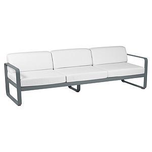 Canapé de jardin 3 places BELLEVIE Fermob gris orage-blanc grisé