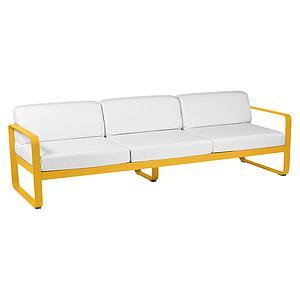 Canapé de jardin 3 places BELLEVIE Fermob miel-blanc grisé
