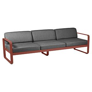 Canapé de jardin 3 places BELLEVIE Fermob ocre rouge-gris graphite