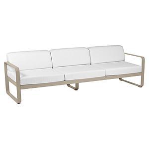 Canapé de jardin 3 places BELLEVIE Fermob piment-blanc grisé