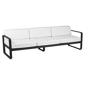 Canapé de jardin 3 places BELLEVIE Fermob réglisse-blanc grisé