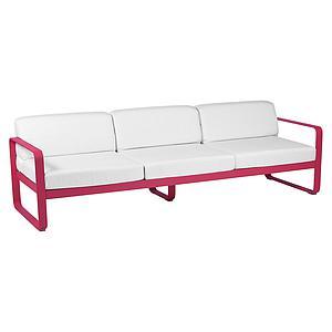 Canapé de jardin 3 places BELLEVIE Fermob rose praline-blanc grisé