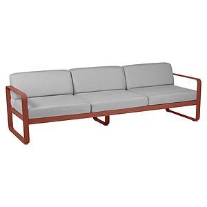 Canapé de jardin 3 places BELLEVIE Fermob rouge ocre-gris flanelle