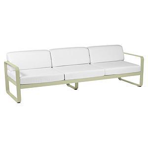 Canapé de jardin 3 places BELLEVIE Fermob tilleul-blanc grisé