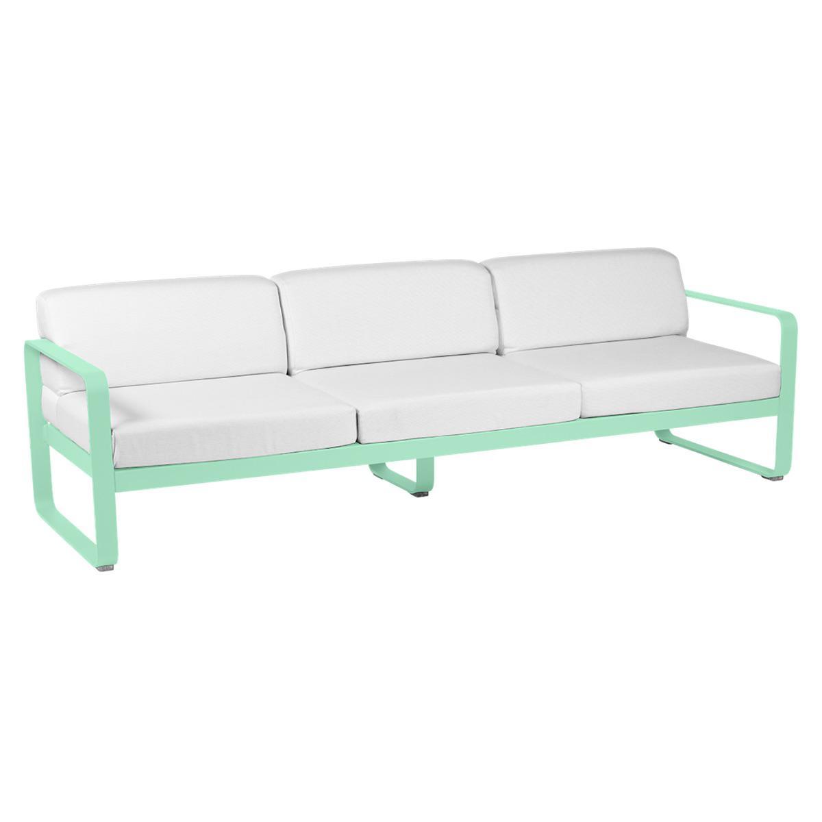 Canapé de jardin 3 places BELLEVIE Fermob vert opaline-blanc grisé