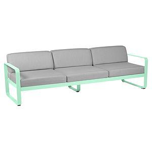 Canapé de jardin 3 places BELLEVIE Fermob vert opaline-gris flanelle