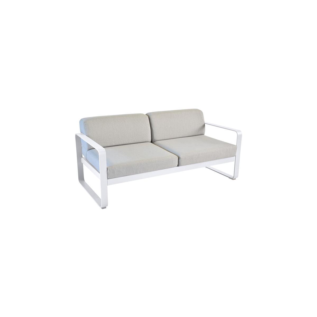 Canapé de jardin BELLEVIE Fermob BLANC COTON coussins gris flanelle