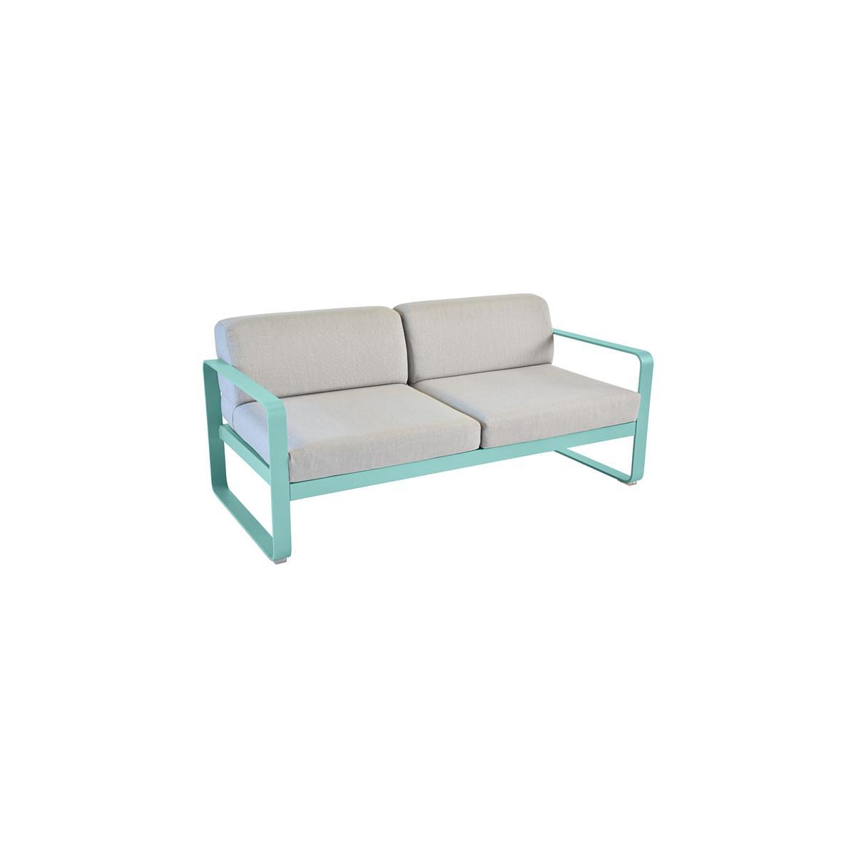 Canapé de jardin BELLEVIE Fermob BLEU LAGUNE coussins gris flanelle