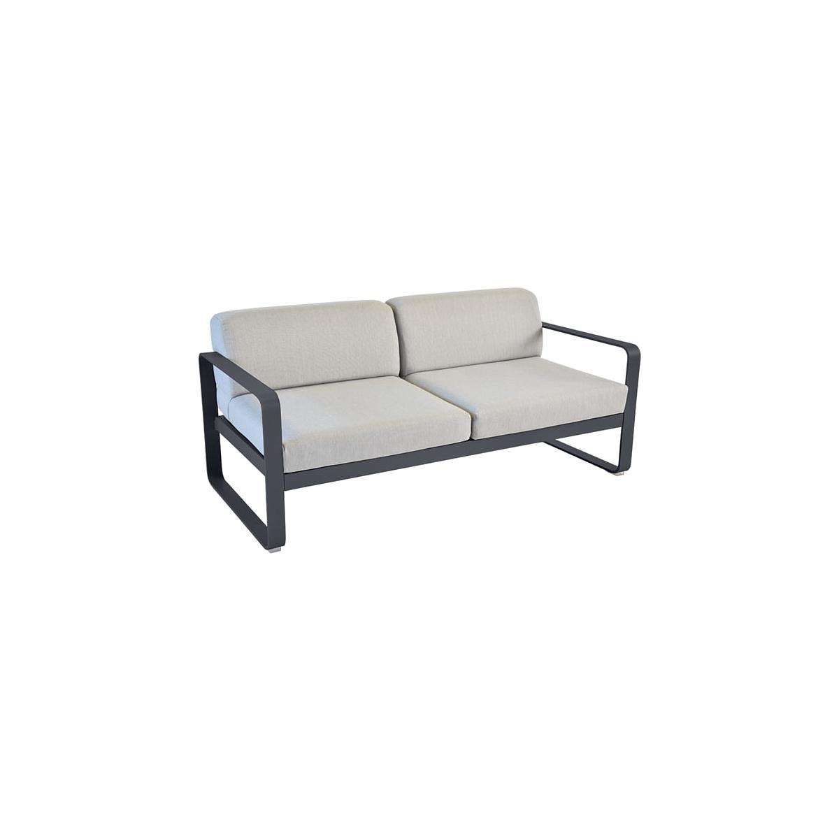 Canapé de jardin BELLEVIE Fermob CARBONE coussins gris flanelle