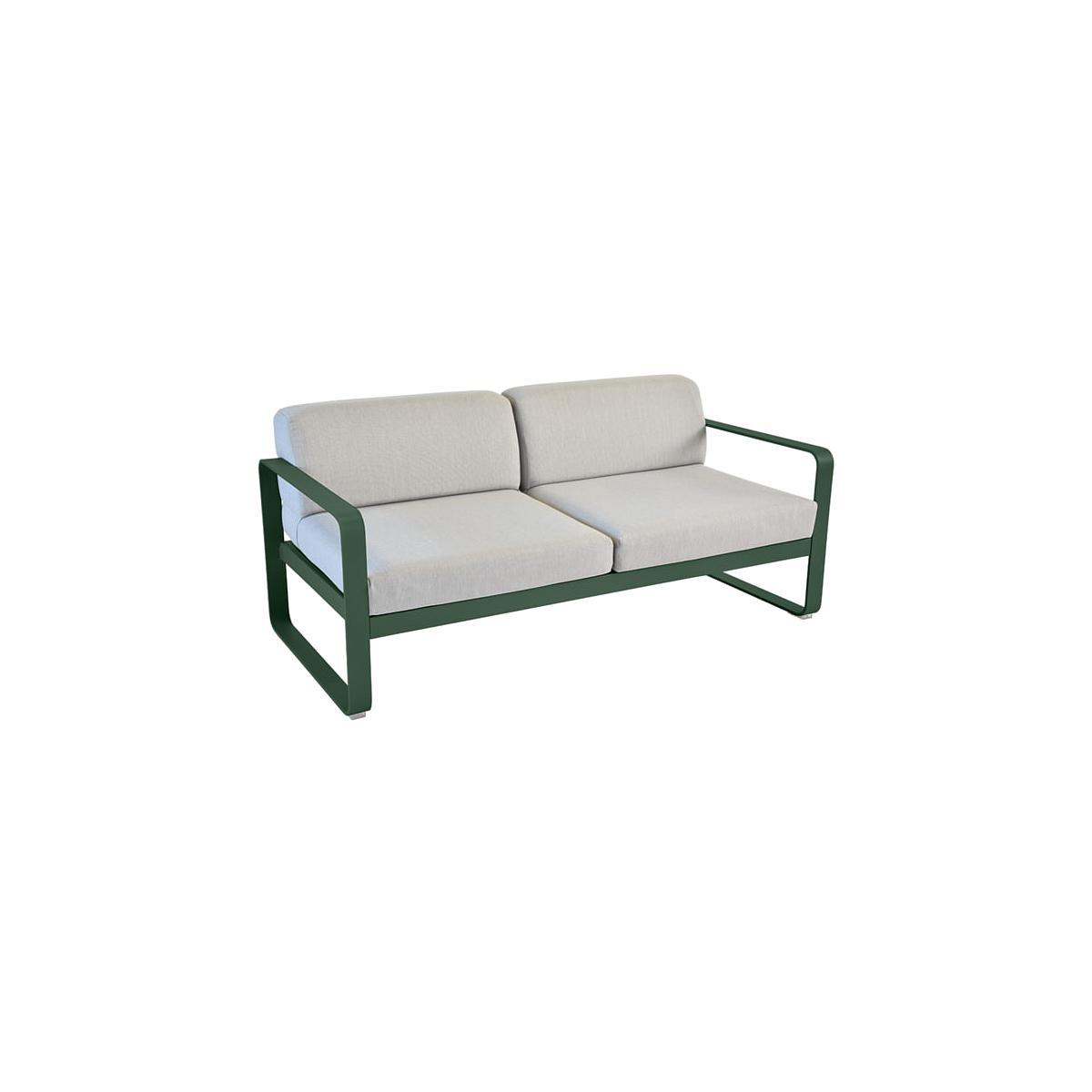 Canapé de jardin BELLEVIE Fermob CÈDRE coussins gris flanelle