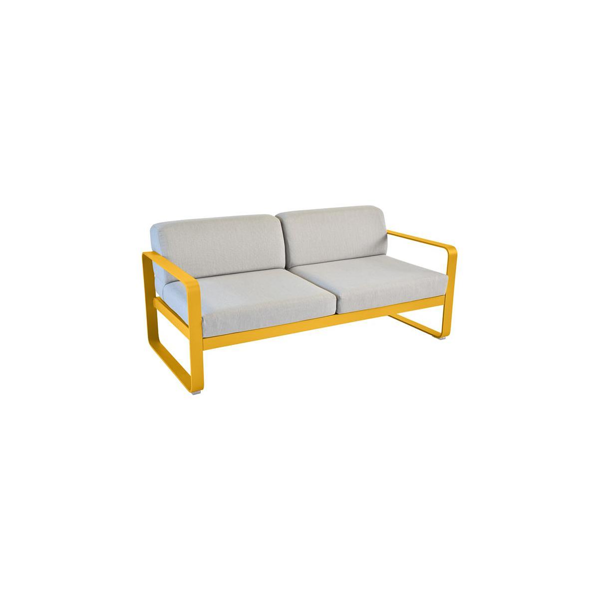 Canapé de jardin BELLEVIE Fermob MIEL coussins gris flanelle