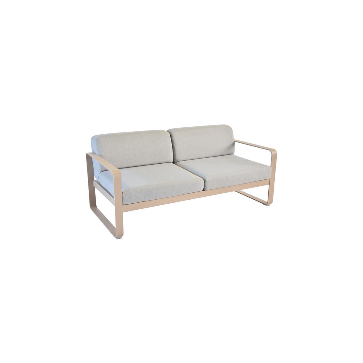 Canapé de jardin BELLEVIE Fermob MUSCADE coussins gris flanelle
