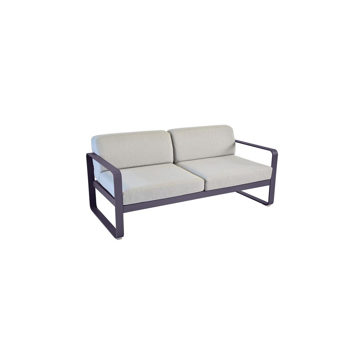 Canapé de jardin BELLEVIE Fermob PRUNE coussins gris flanelle