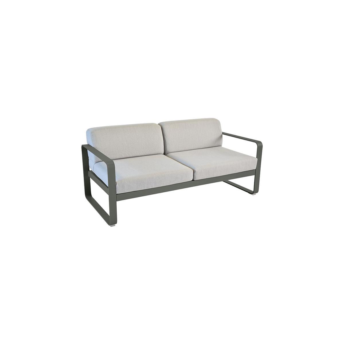 Canapé de jardin BELLEVIE Fermob ROMARIN coussins gris flanelle