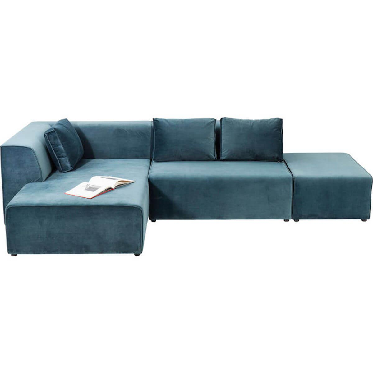 Canapé gauche INFINITY Kare Design velours ocean