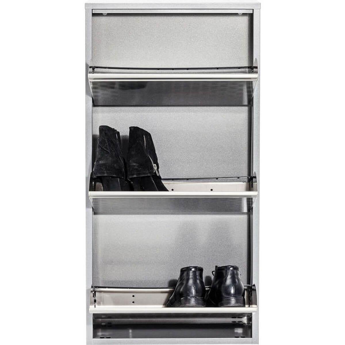 CARUSO by Kare Meuble chaussure 3 portes métal brossé