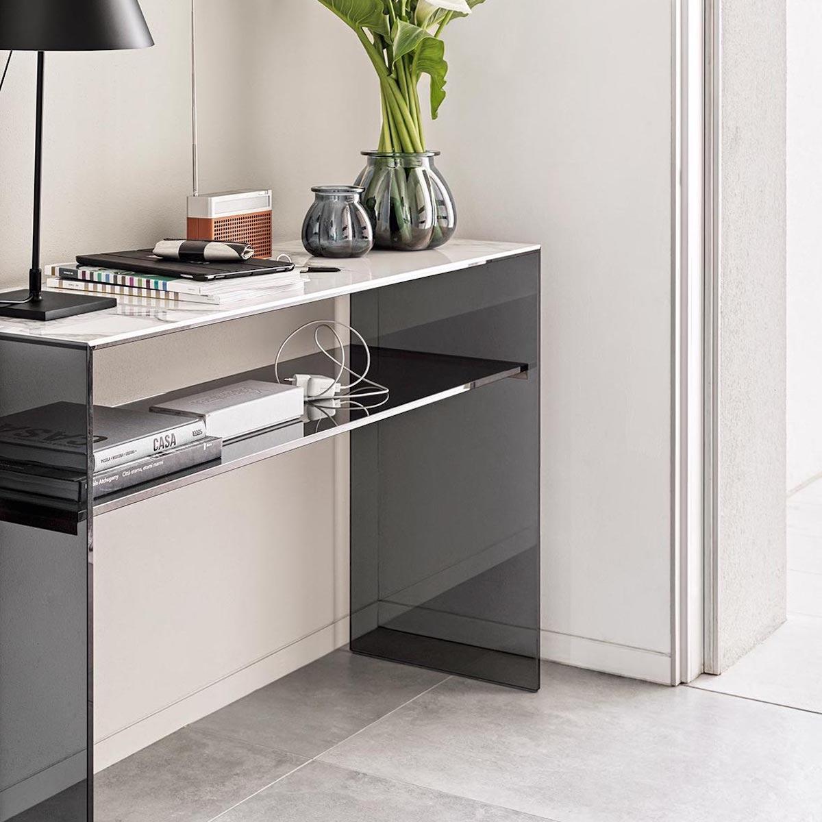 Console BRIDGE Calligaris gris fumé-marbre onyx