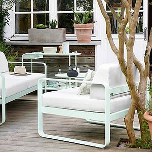 Fauteuil de jardin BELLEVIE Fermob bleu acapulco-blanc grisé