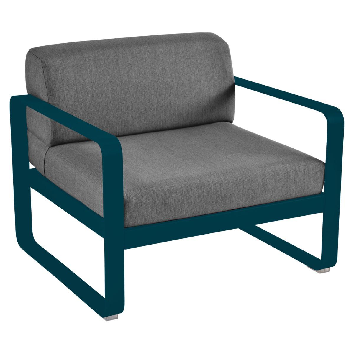 Fauteuil de jardin BELLEVIE Fermob bleu acapulco-gris graphite