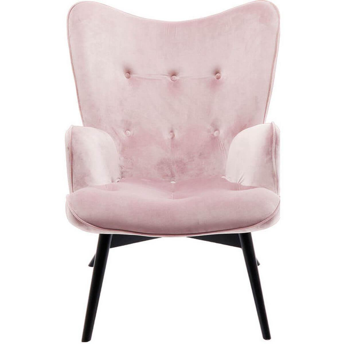 Fauteuil VICKY velours rose