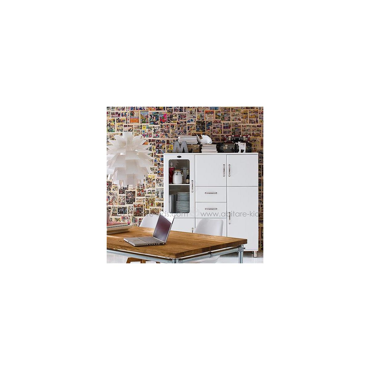 MALIBU by Tenzo Armoire 1 porte/ 2 tiroirs/ 1 porte vitrée
