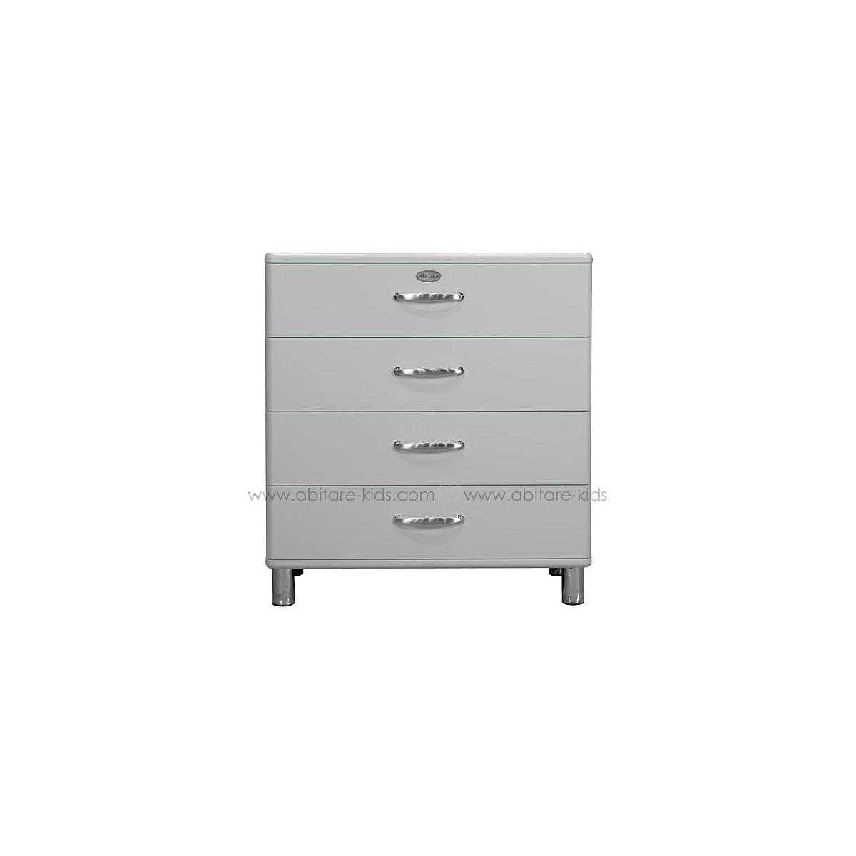 MALIBU by Tenzo Commode 4 tiroirs larges - Gris argent