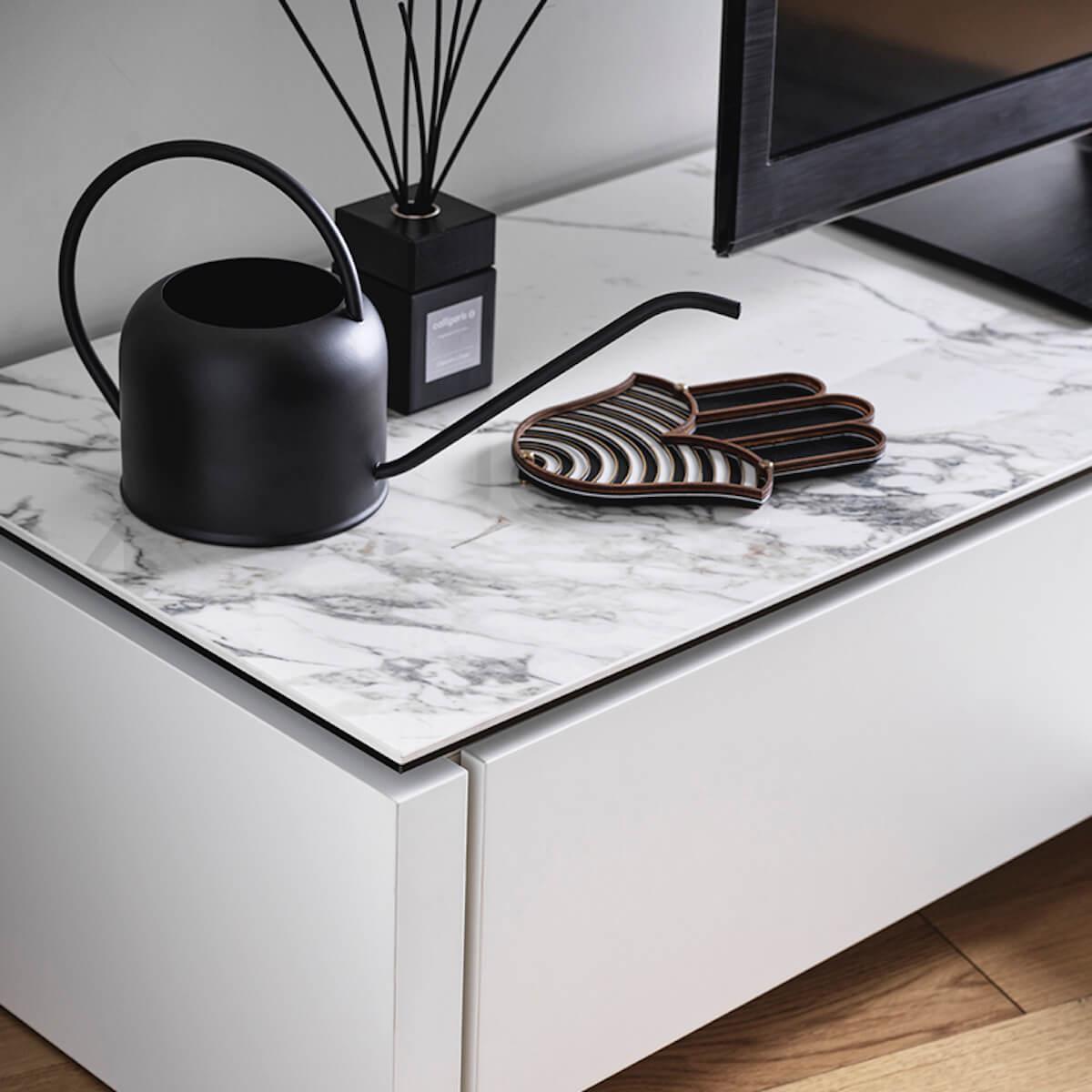 Meuble TV MAG Calligaris Céramique silk white