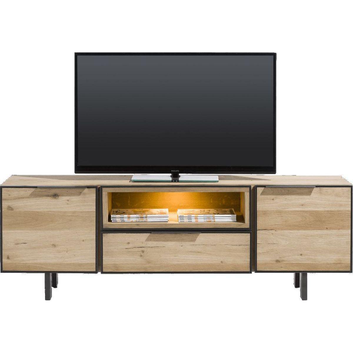 Meuble TV PEDRO H&H 2 portes-1 niche-1 tiroir LED 180 cm