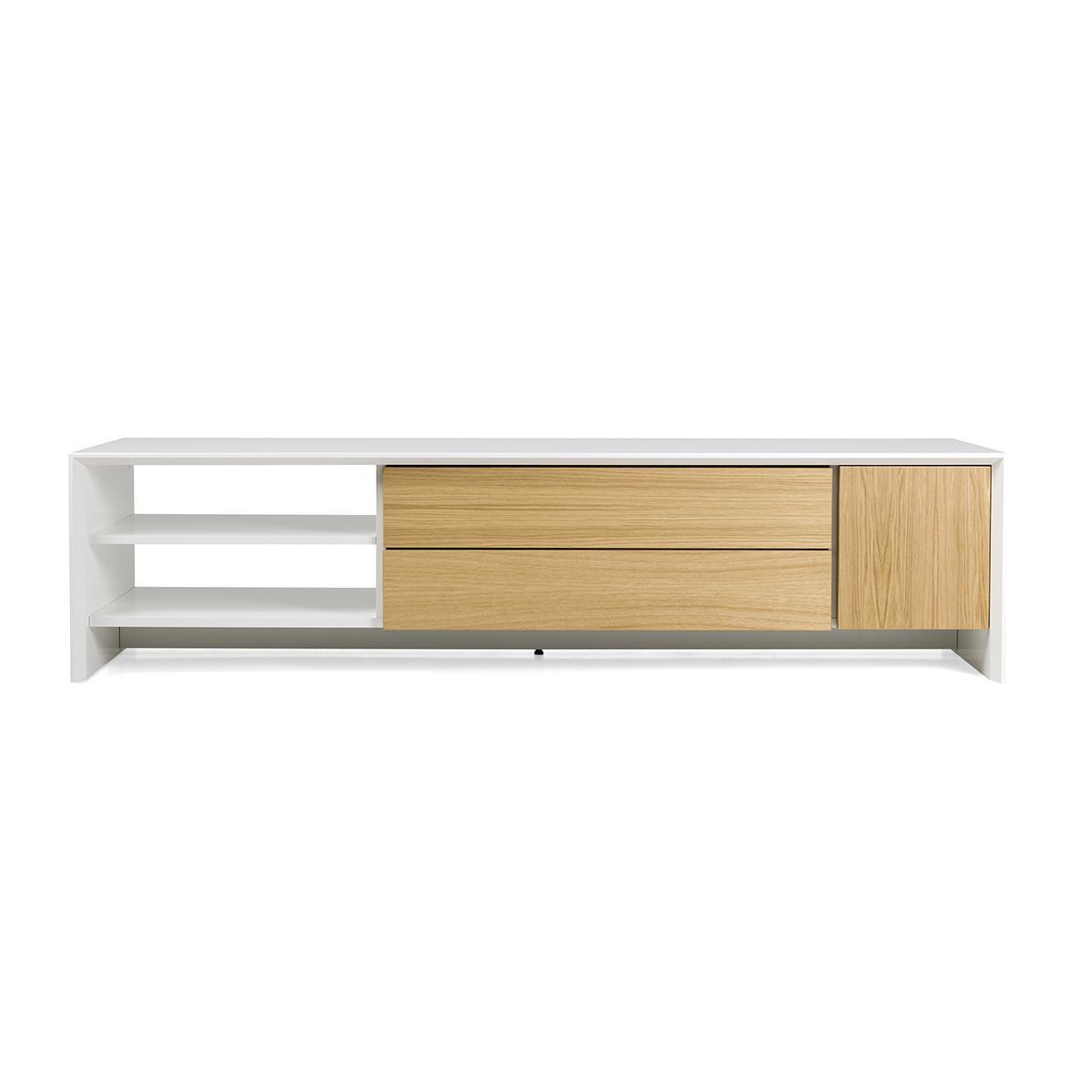 Meuble TV PROFIL Tenzo 180cm blanc et chêne