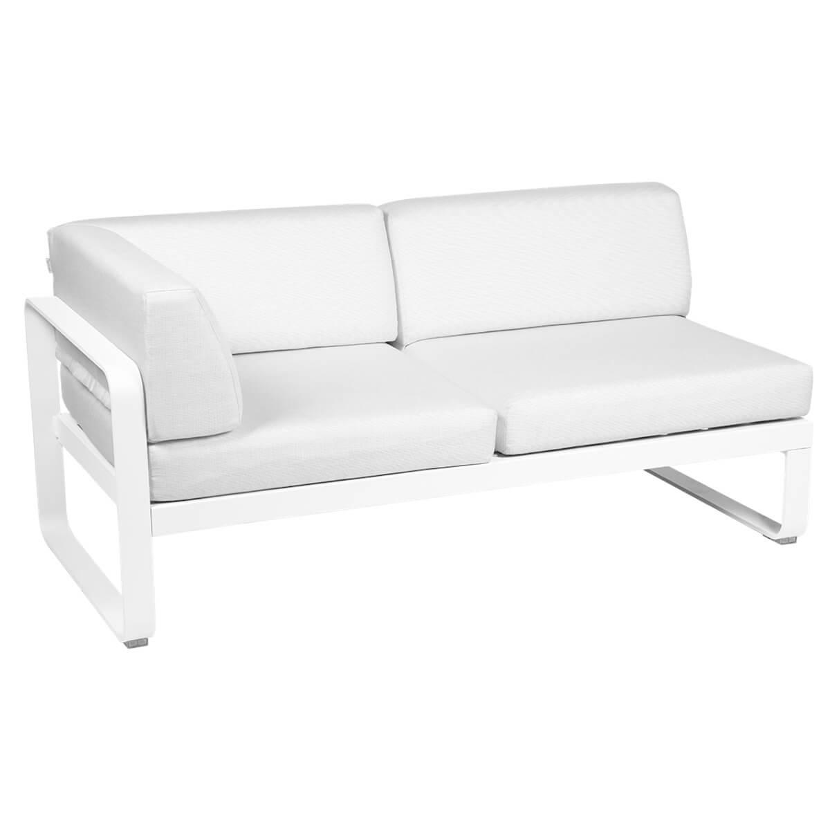 Module d'angle gauche 2 places BELLEVIE Fermob blanc coton-Blanc grisé