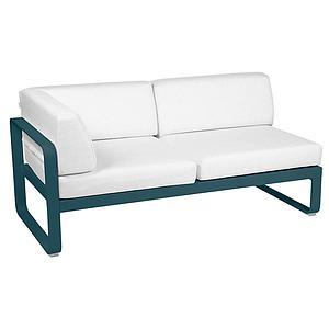 Module d'angle gauche 2 places BELLEVIE Fermob bleu acapulco-Blanc grisé