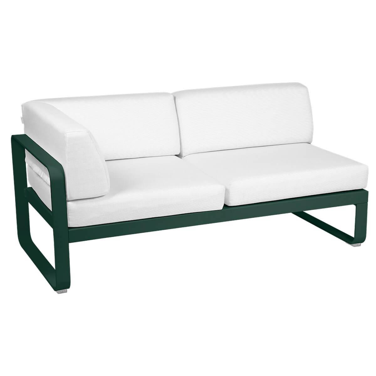 Module d'angle gauche 2 places BELLEVIE Fermob vert cèdre-Blanc grisé