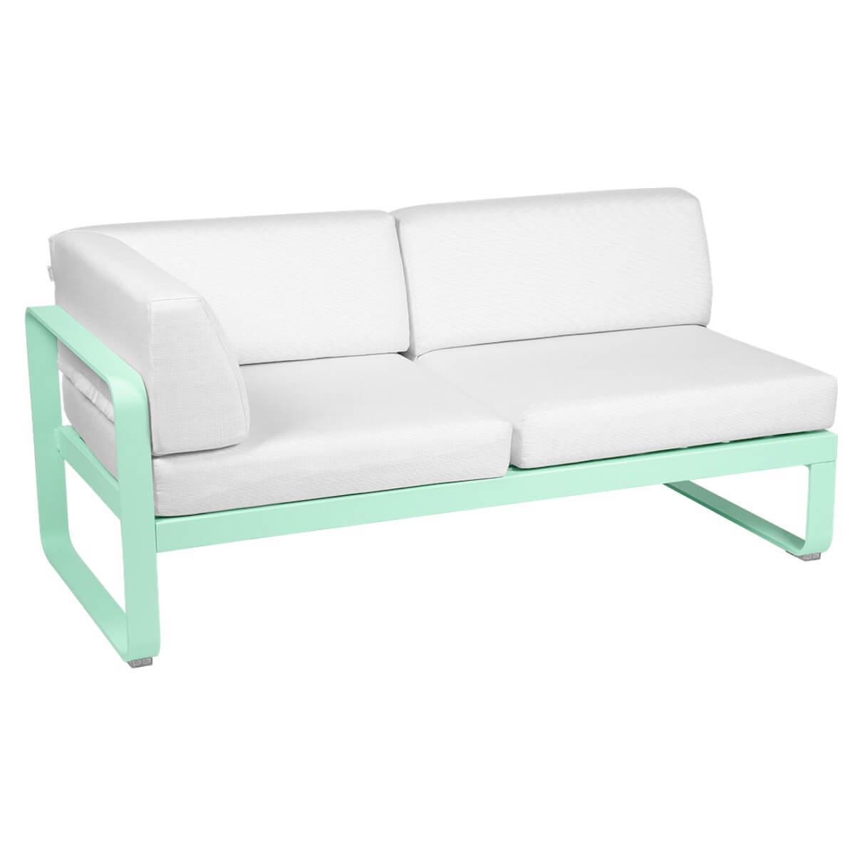 Module d'angle gauche 2 places BELLEVIE Fermob vert opaline-Blanc grisé