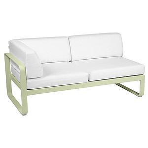 Module d'angle gauche 2 places BELLEVIE Fermob vert tilleul-Blanc grisé