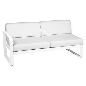 Module gauche 2 places BELLEVIE Fermob blanc coton-Blanc grisé