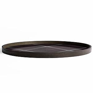 Plateau rond 92cm XL LINEAR FLOW Ethnicraft Slate Linear Squares glass