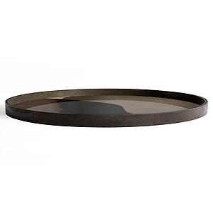 Plateau rond 92cm XL TRANSLUCENT LAYERS Ethnicraft Graphite Combined Dots glass