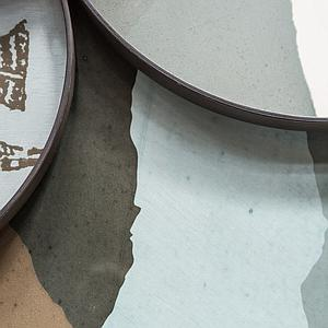 Plateau rond 92cm XL WABI SABI Ethnicraft Graphite Wabi Sabi glass
