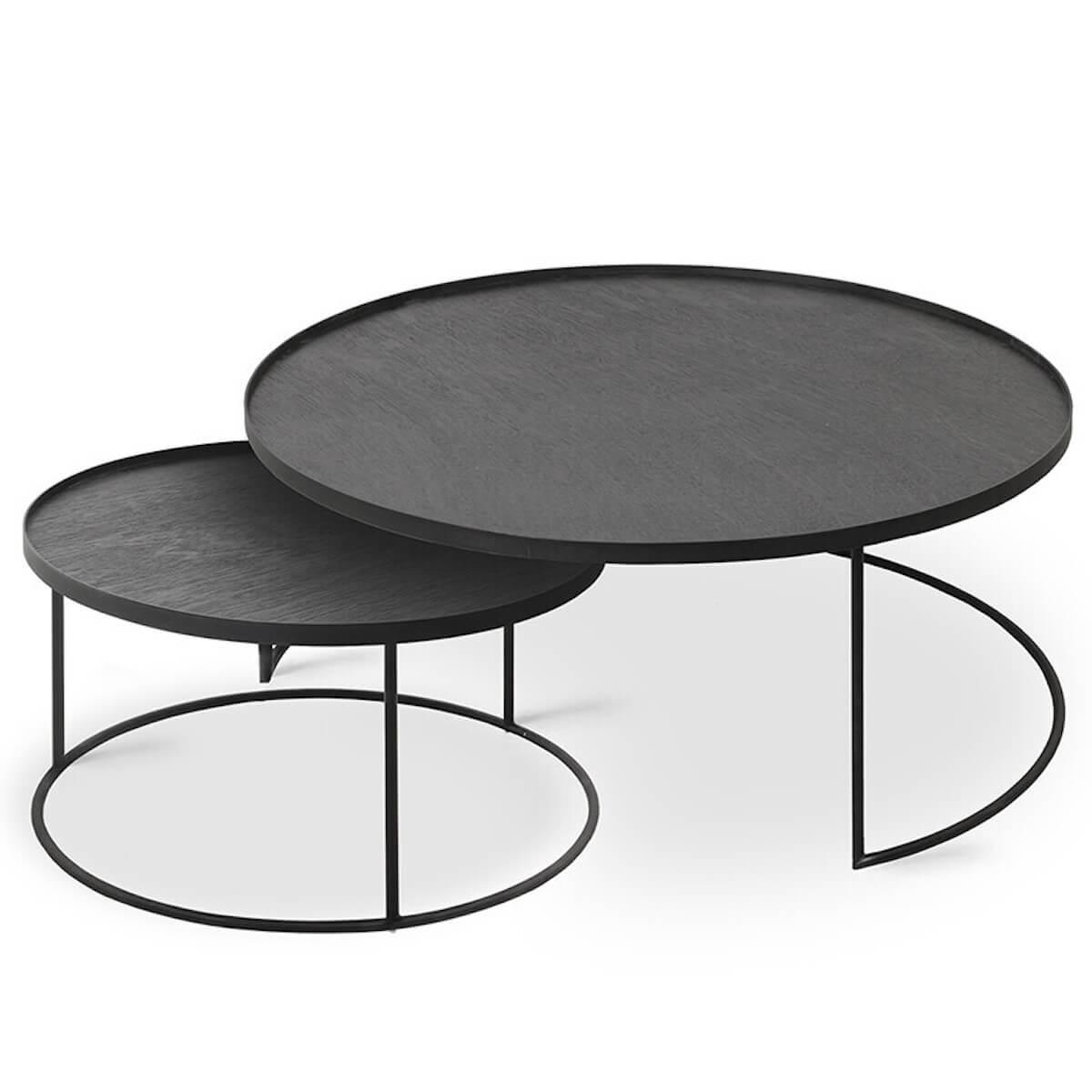 Set 2 tables d'appoint rond L-XL TRAY Ethnicraft