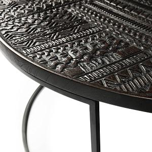 Set table basse ronde TABAWA Ethnicraft teck noir
