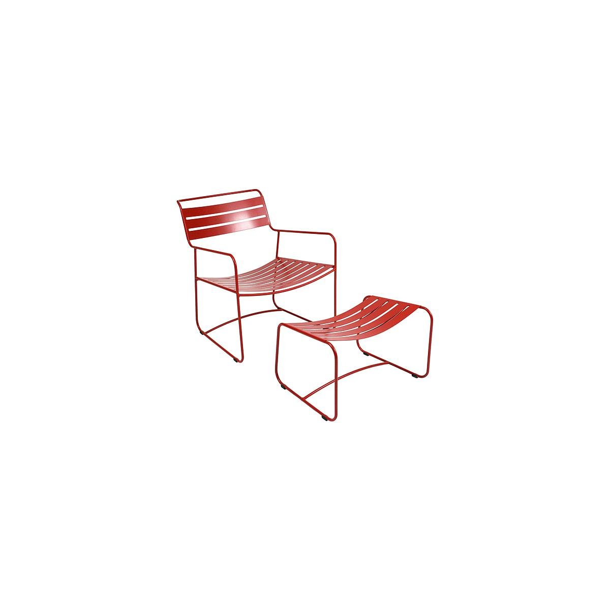 SURPRISING by Fermob Fauteuil + repose pied Rouge coquelicot