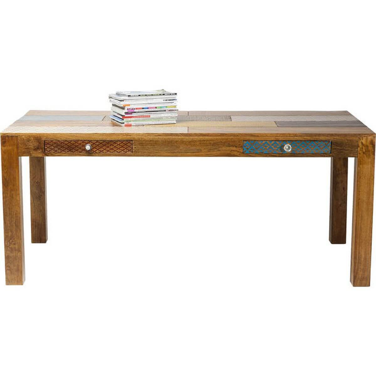 TABLE EN BOIS SOLEIL 180X90 CM 2 TIROIRS KARE DESIGN