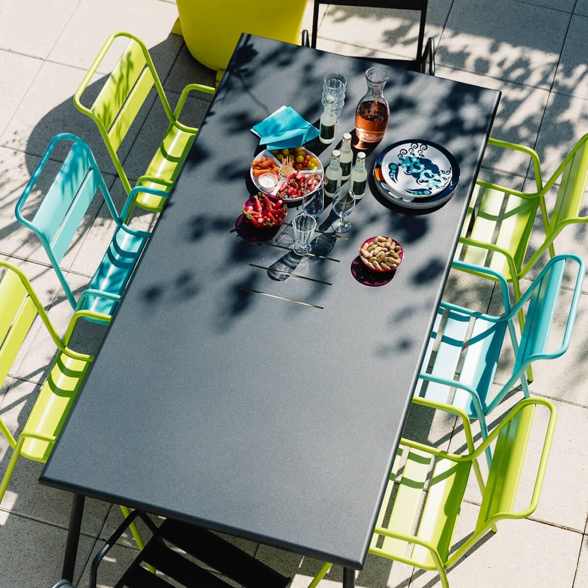 Table 194x94cm MONCEAU Fermob bleu acapulco