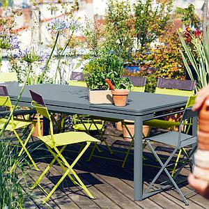 Table 2 rallonges 100x300cm BIARRITZ Fermob Vert verveine