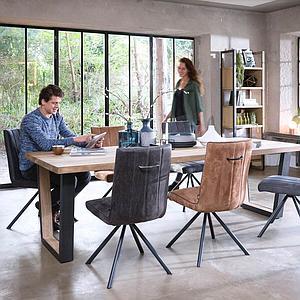 Table 200x100cm METALOX Henders & Hazel pieds V métal-bois-bord droit