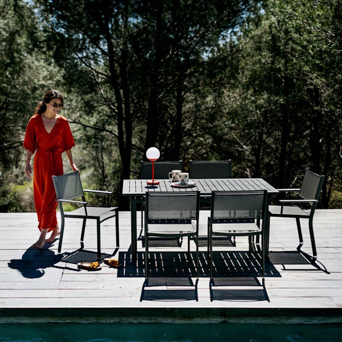 Table 80x160cm COSTA Fermob Noir réglisse