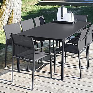 Table 95x195cm CALVI Fermob brun rouille