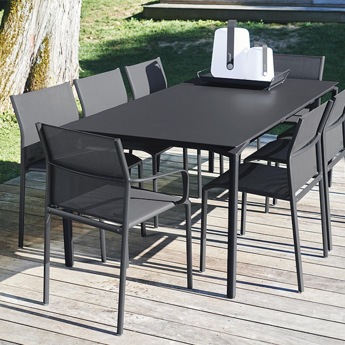 Table 95x195cm CALVI Fermob gris métal